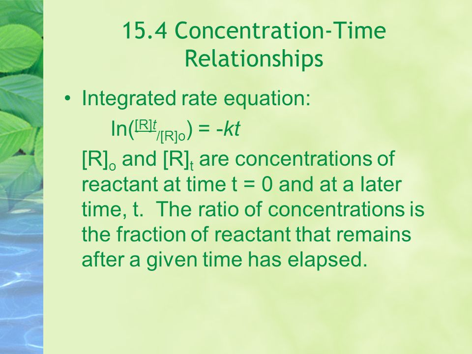 15.4 Concentration-Time Relationships