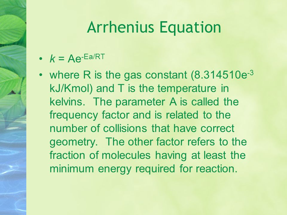 Arrhenius Equation k = Ae-Ea/RT