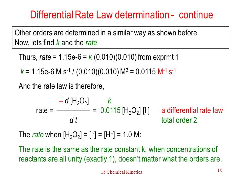 Differential Rate Law determination - continue