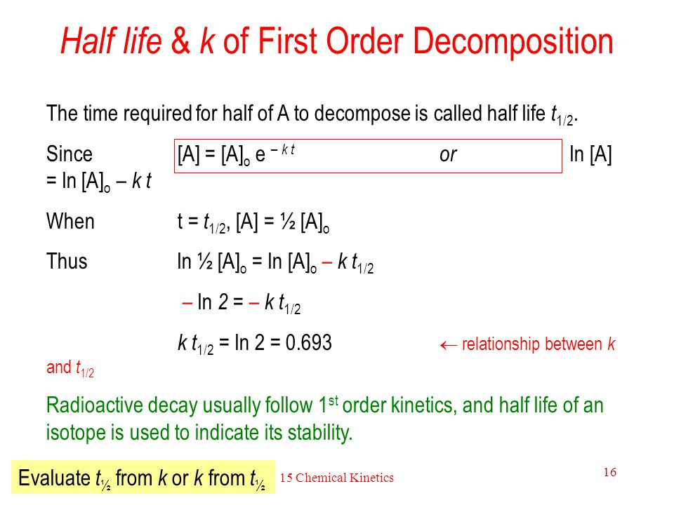 Half life & k of First Order Decomposition