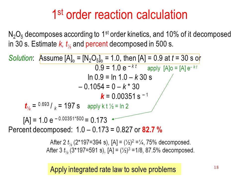 1st order reaction calculation