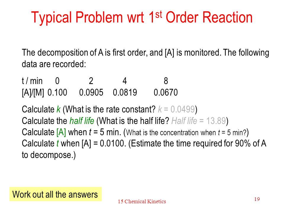 Typical Problem wrt 1st Order Reaction
