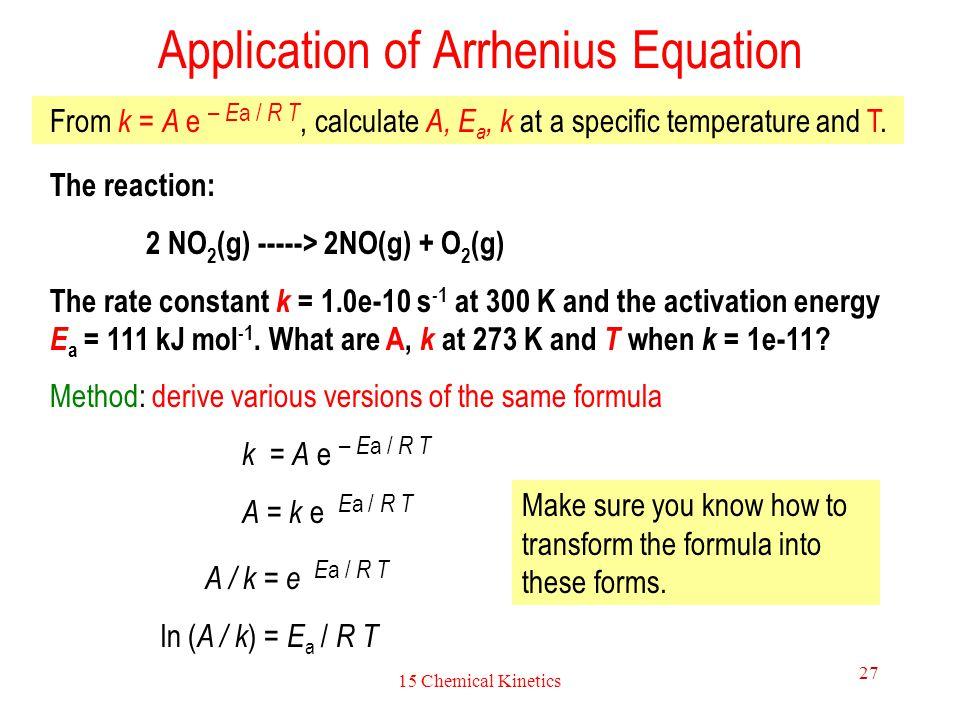 Application of Arrhenius Equation