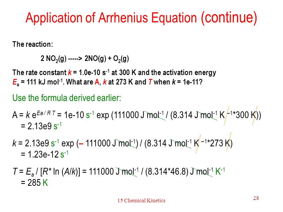 Application of Arrhenius Equation (continue)