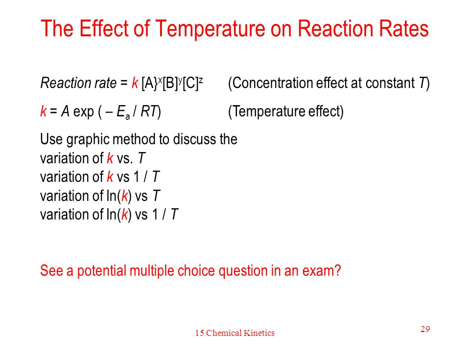 to observe the effect of temperature With these results, the effect of temperature on the rate of reaction will be investigated 2 2 determine the activation enthalpy with and without the catalyst ammonium molybdate(vi) and with different protic acids and use this to compare the effectiveness.