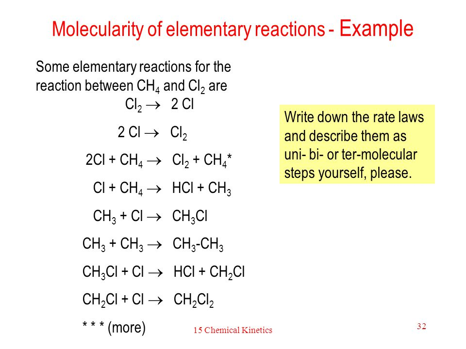 Molecularity of elementary reactions - Example
