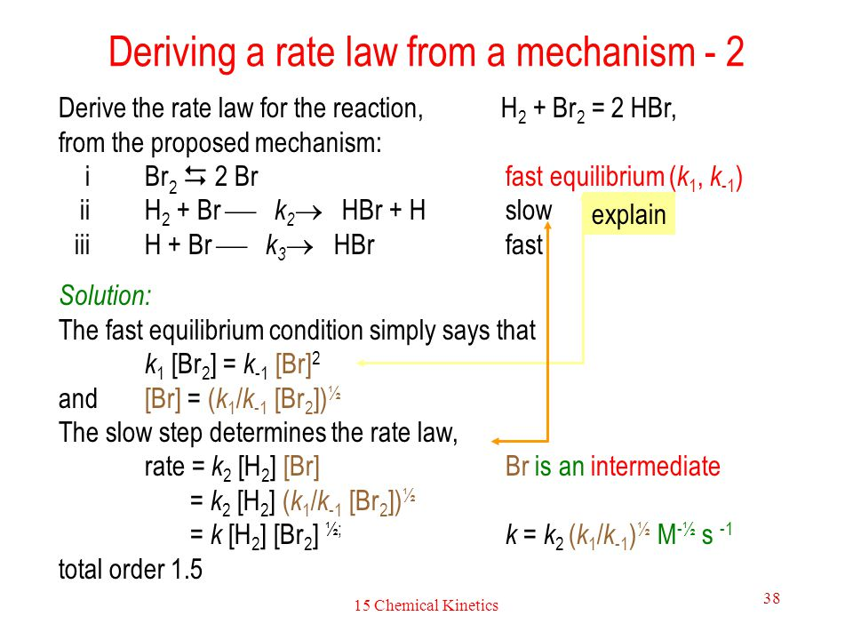 Deriving a rate law from a mechanism - 2
