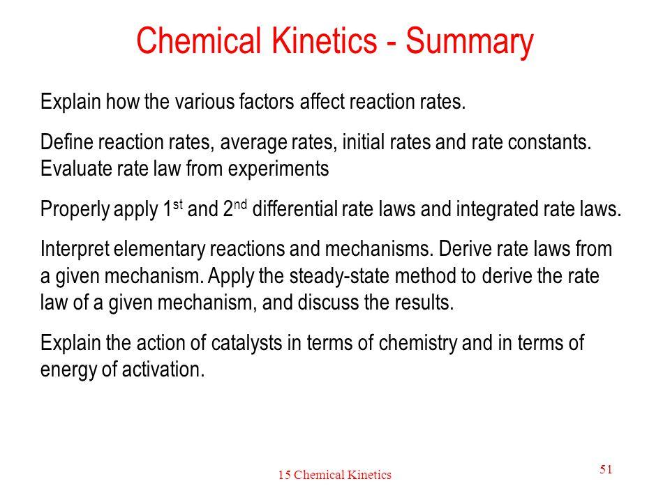 Chemical Kinetics - Summary