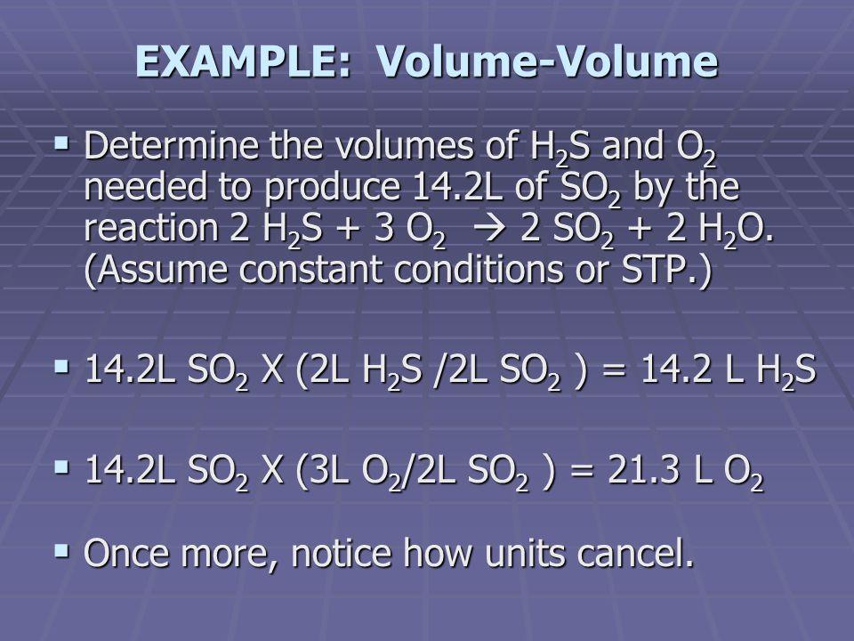 EXAMPLE: Volume-Volume