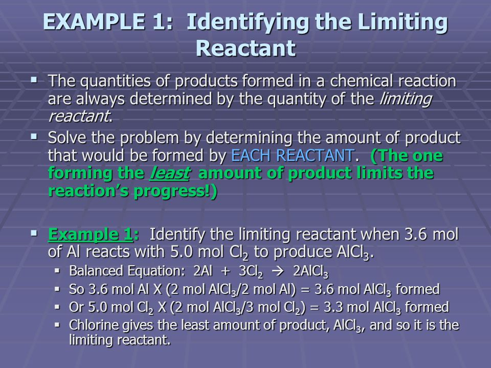 EXAMPLE 1: Identifying the Limiting Reactant