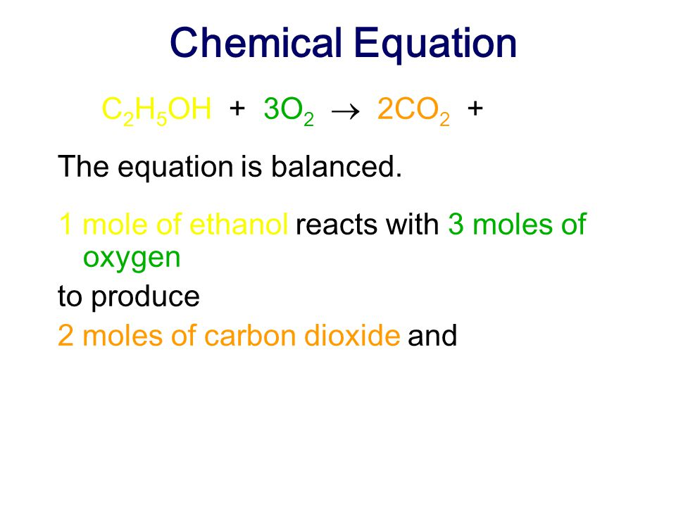 Chemical Equation C2H5OH + 3O2  2CO2 + 3H2O The equation is balanced.