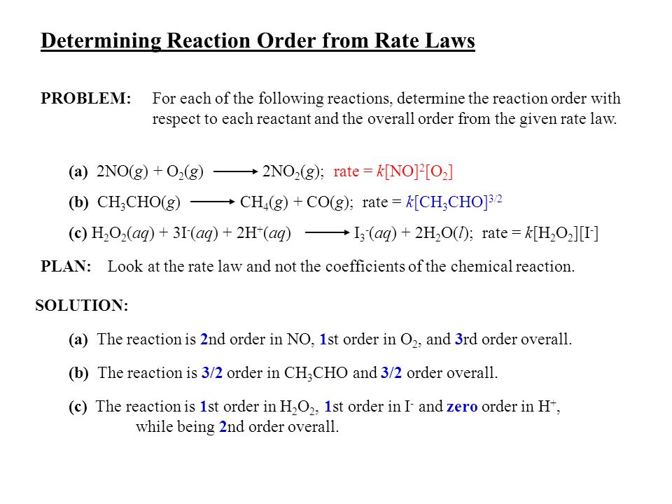 determination of reaction order with respect The rate order with respect to individual components may be deduced from a graph of the initial reaction rate vs the concentration of the component under investigation if the rate order with.