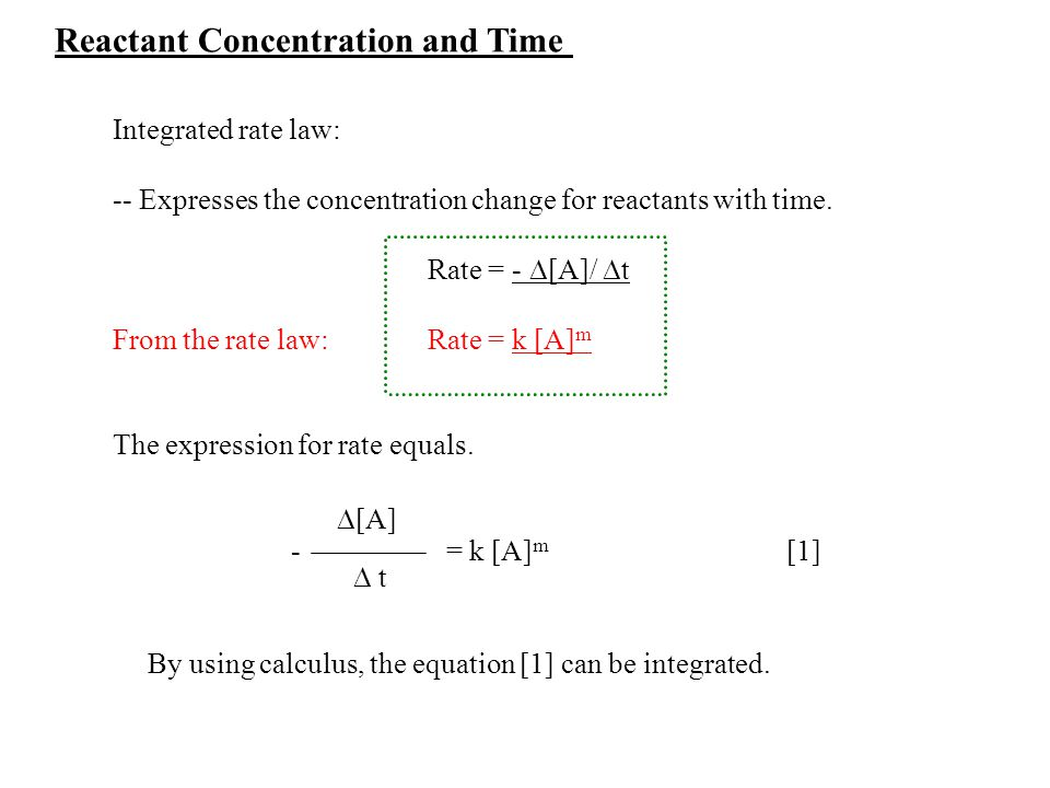 Reactant Concentration and Time