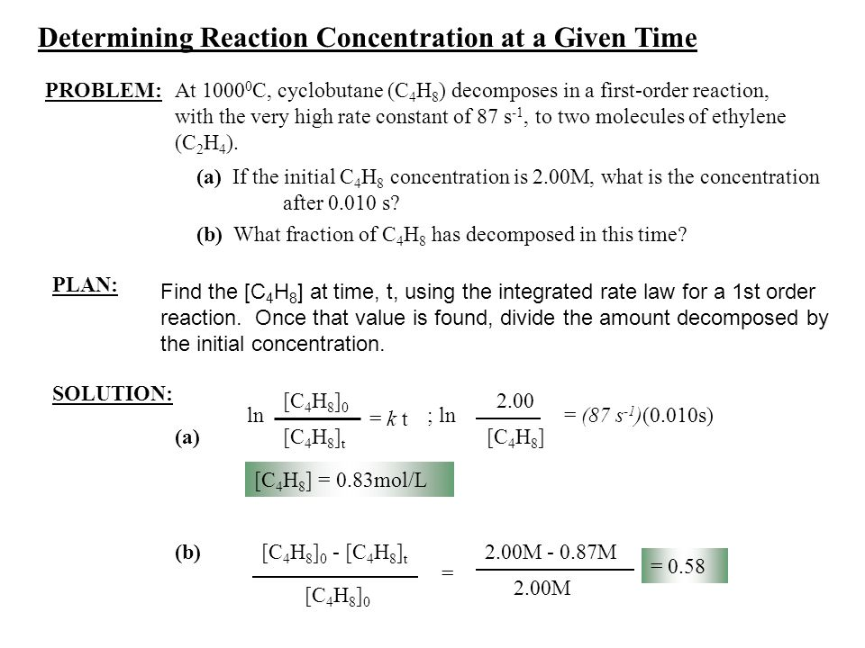 Determining Reaction Concentration at a Given Time