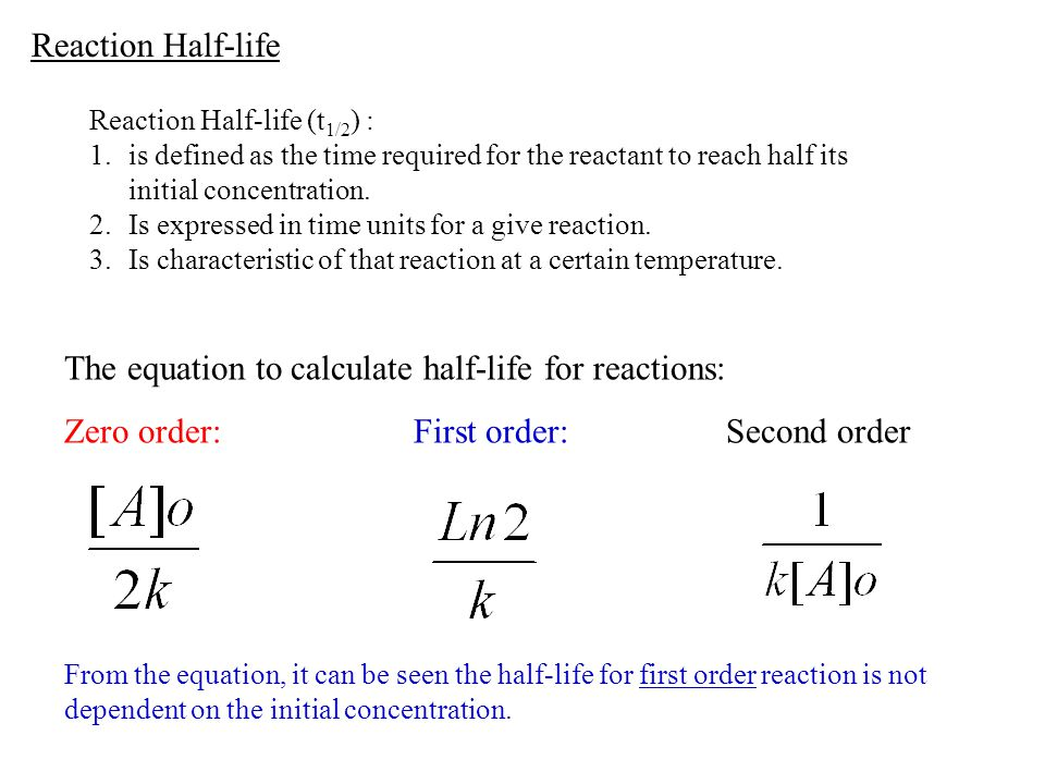 The equation to calculate half-life for reactions:
