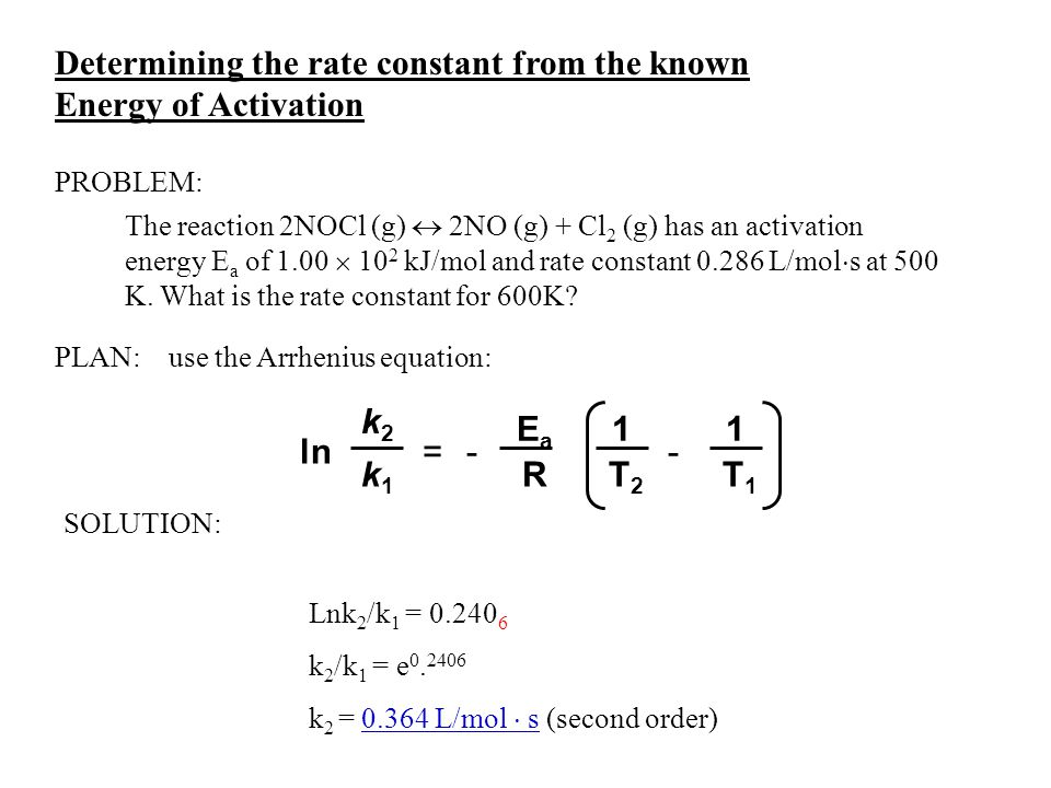 Determining the rate constant from the known Energy of Activation