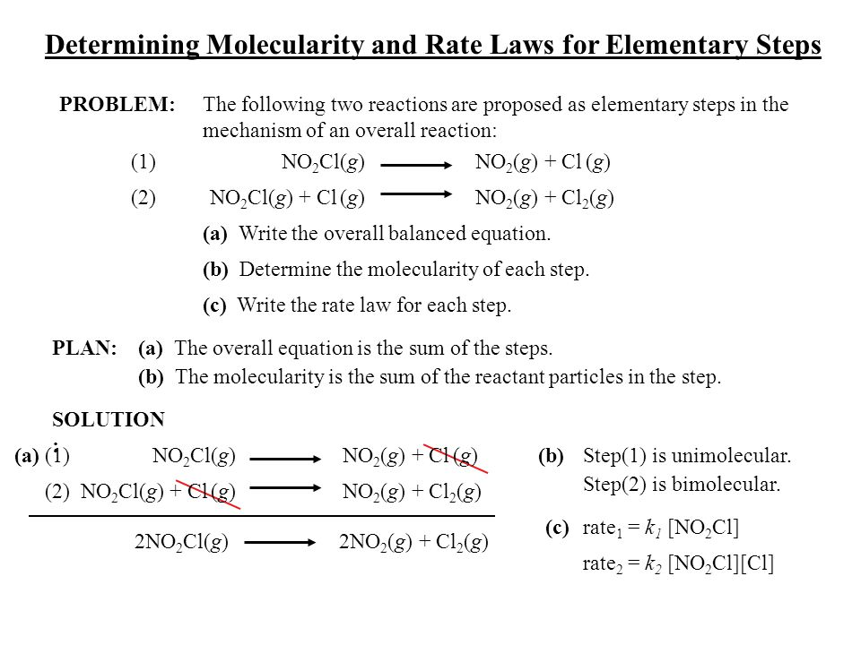 Determining Molecularity and Rate Laws for Elementary Steps