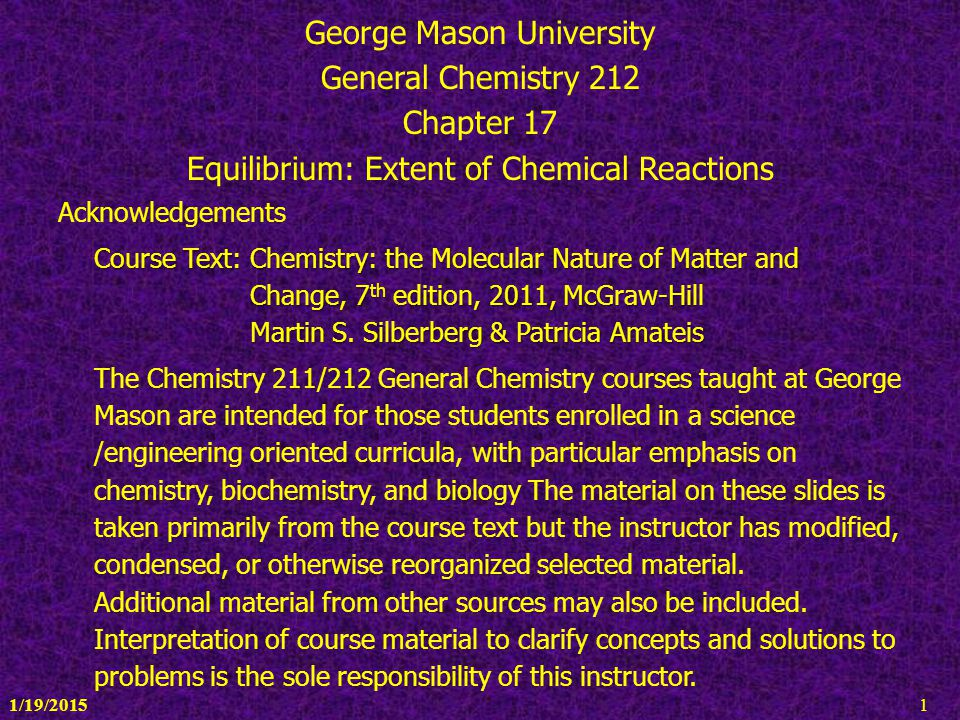 George Mason University General Chemistry 212 Chapter 17