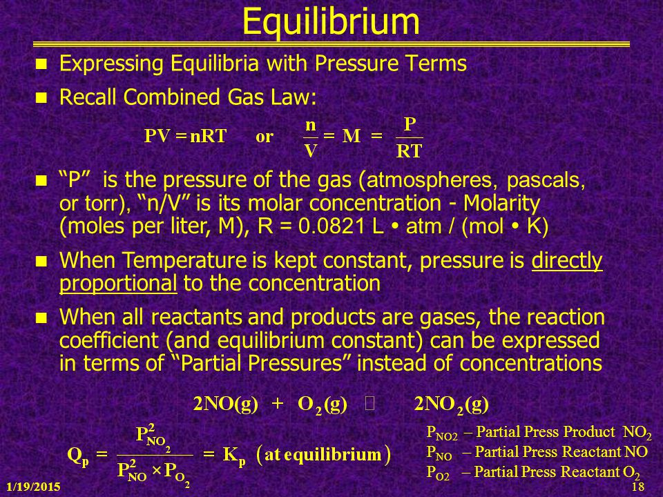 Equilibrium Expressing Equilibria with Pressure Terms