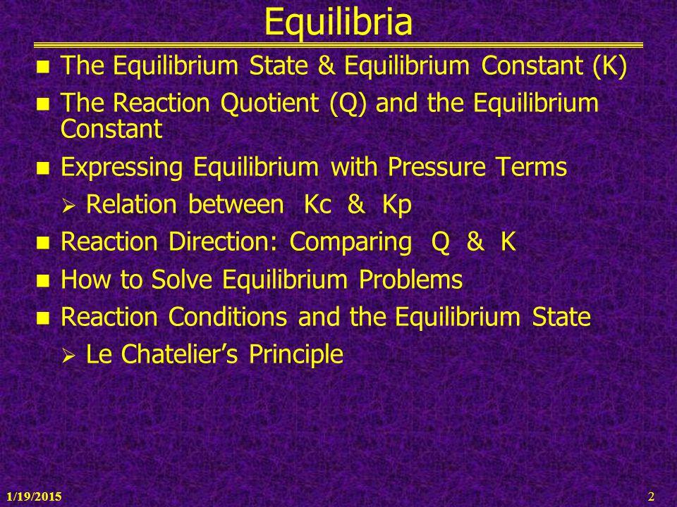 Equilibria The Equilibrium State & Equilibrium Constant (K)