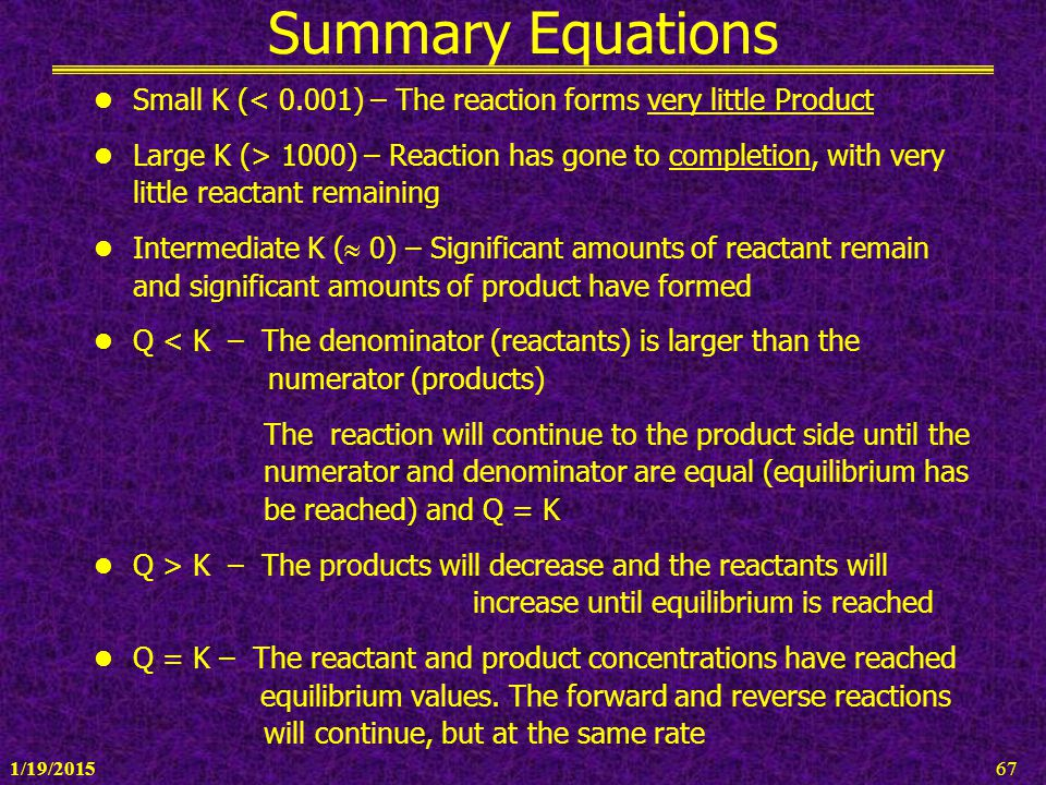 Summary Equations Small K (< 0.001) – The reaction forms very little Product.