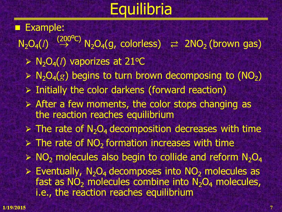 N2O4(l)  N2O4(g, colorless) ⇄ 2NO2 (brown gas)