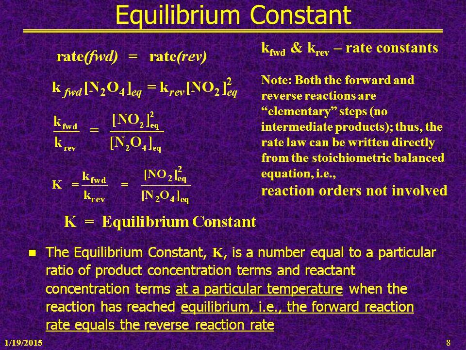 Equilibrium Constant kfwd & krev – rate constants
