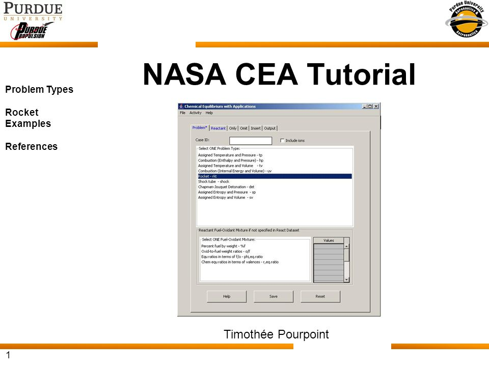 NASA CEA Tutorial Timothée Pourpoint Problem Types Rocket Examples