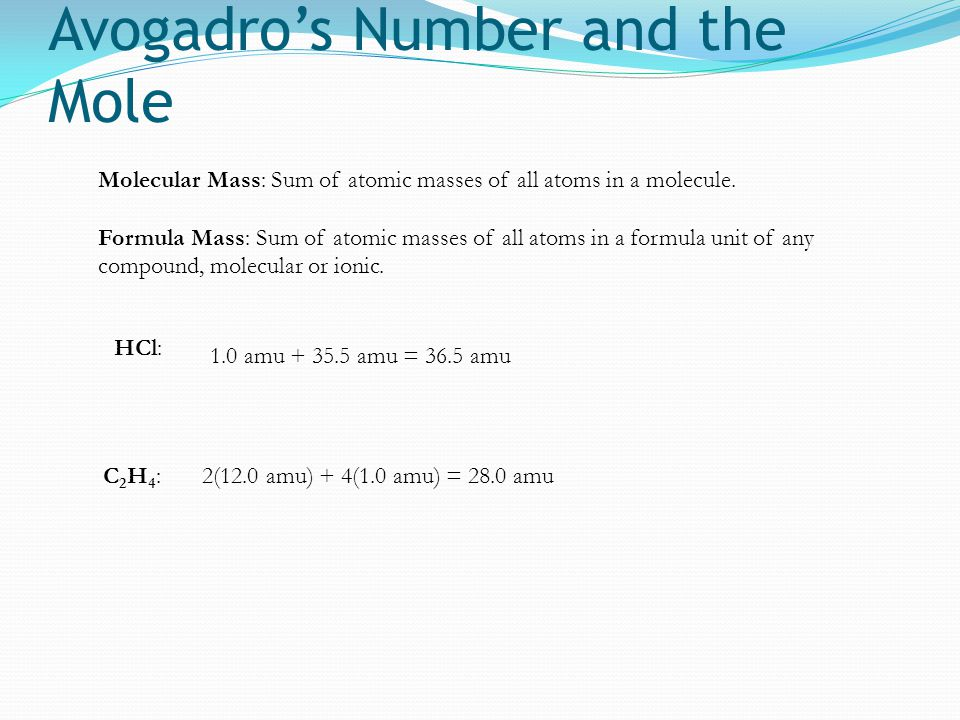 Avogadro's Number and the Mole