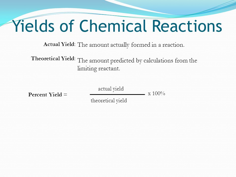 Yields of Chemical Reactions