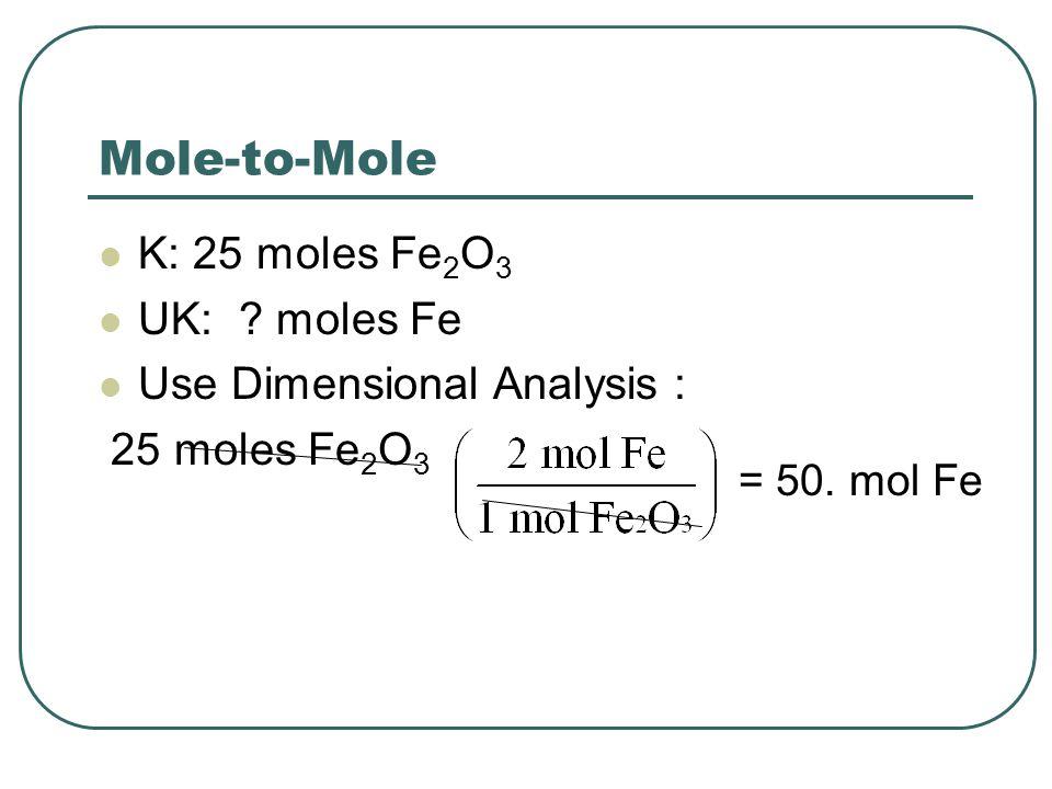 Mole-to-Mole K: 25 moles Fe2O3 UK: moles Fe