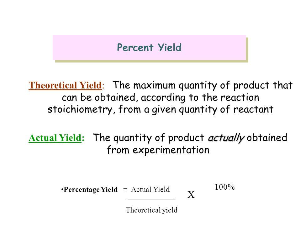 Percentage Yield = Actual Yield