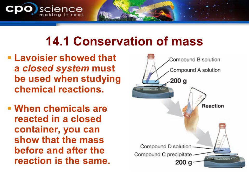 14.1 Conservation of mass Lavoisier showed that a closed system must be used when studying chemical reactions.