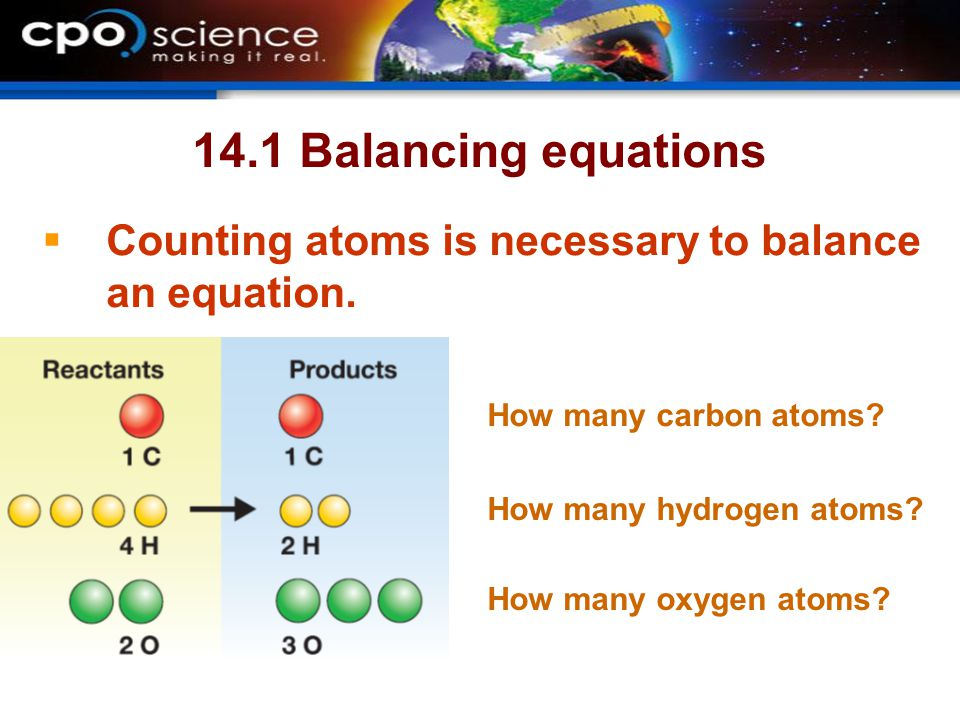 14.1 Balancing equations Counting atoms is necessary to balance an equation. How many carbon atoms