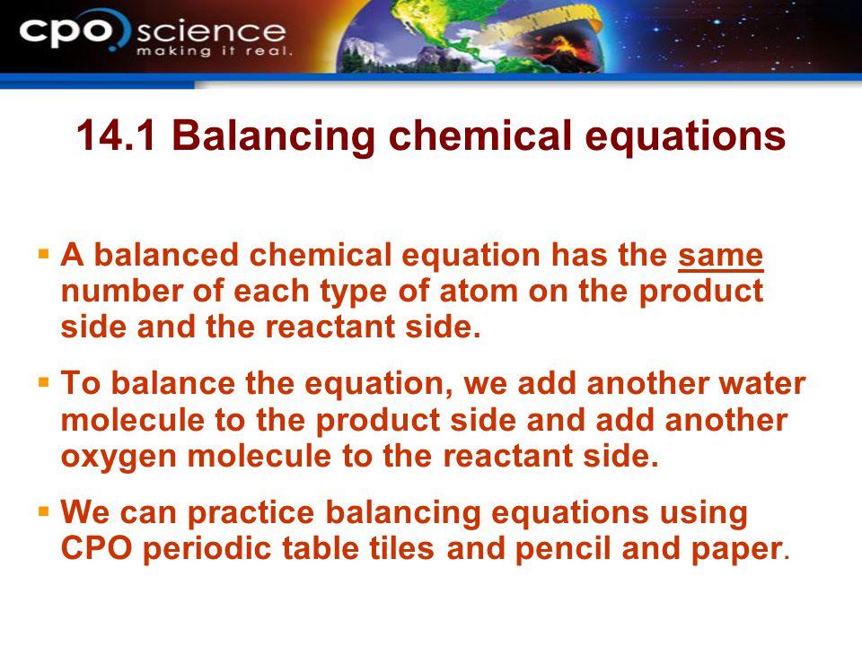 14.1 Balancing chemical equations