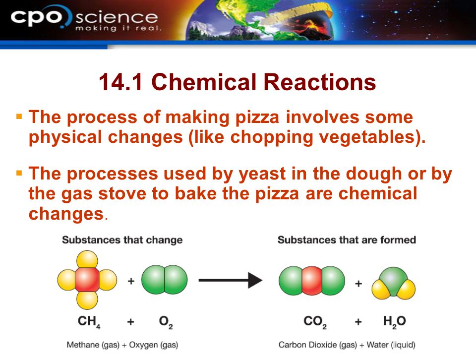 14.1 Chemical Reactions The process of making pizza involves some physical changes (like chopping vegetables).