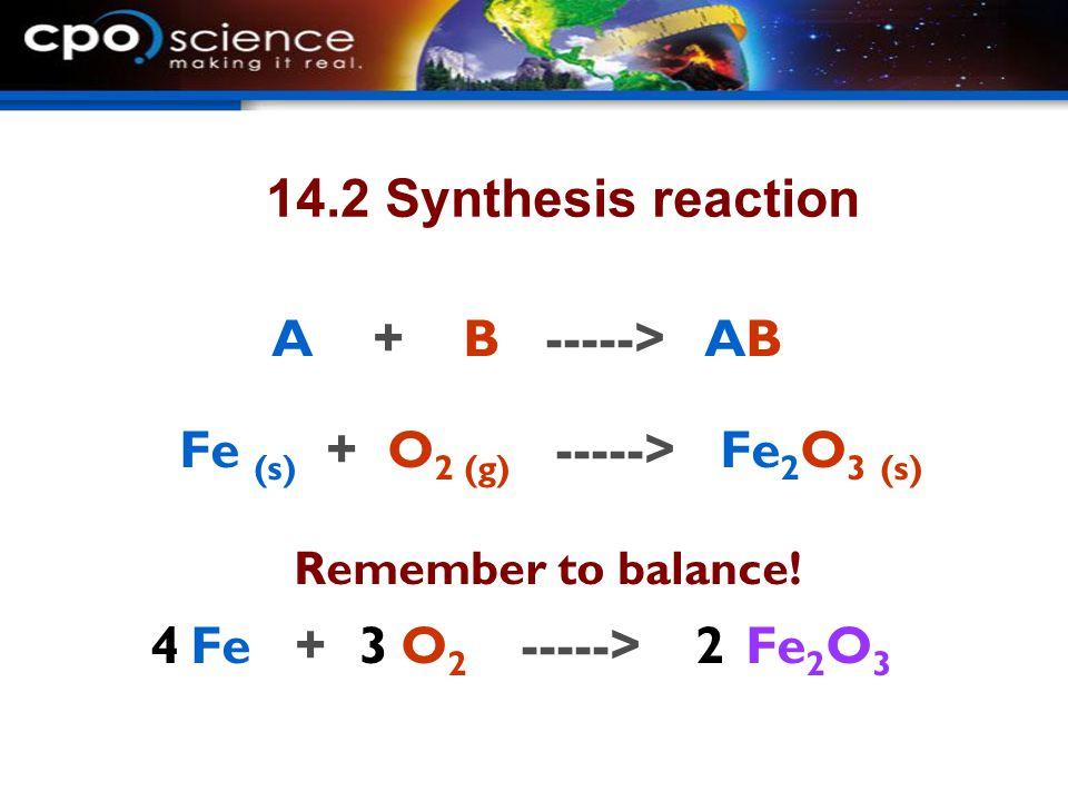 Fe (s) + O2 (g) -----> Fe2O3 (s)