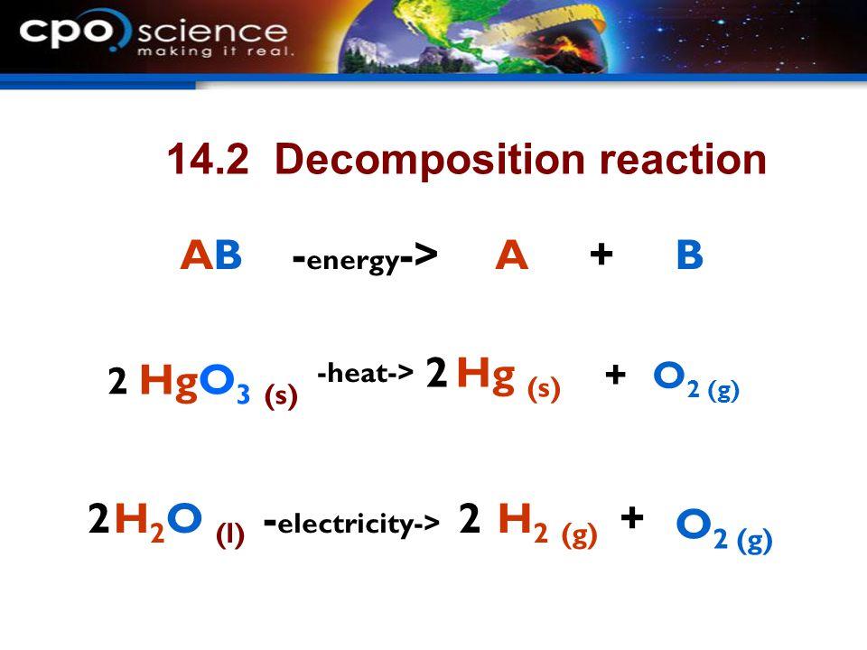 14.2 Decomposition reaction