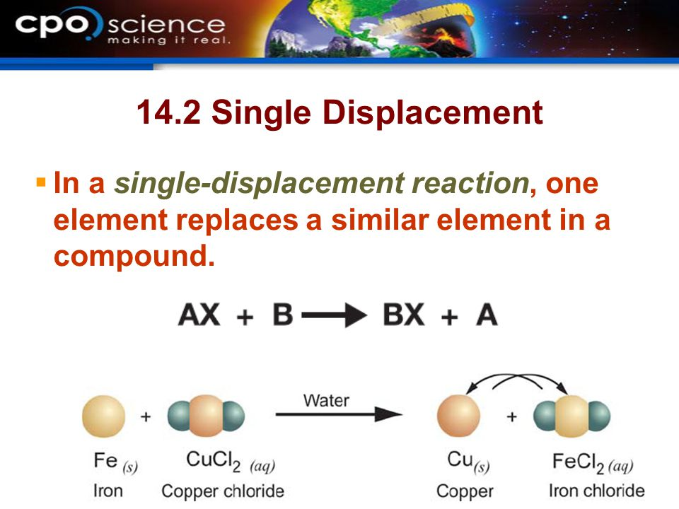 14.2 Single Displacement In a single-displacement reaction, one element replaces a similar element in a compound.
