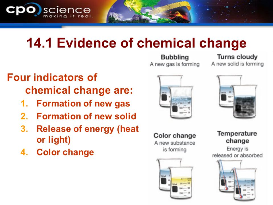 14.1 Evidence of chemical change