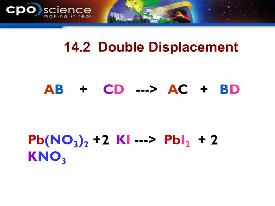 14.2 Double Displacement AB + CD ---> AC + BD