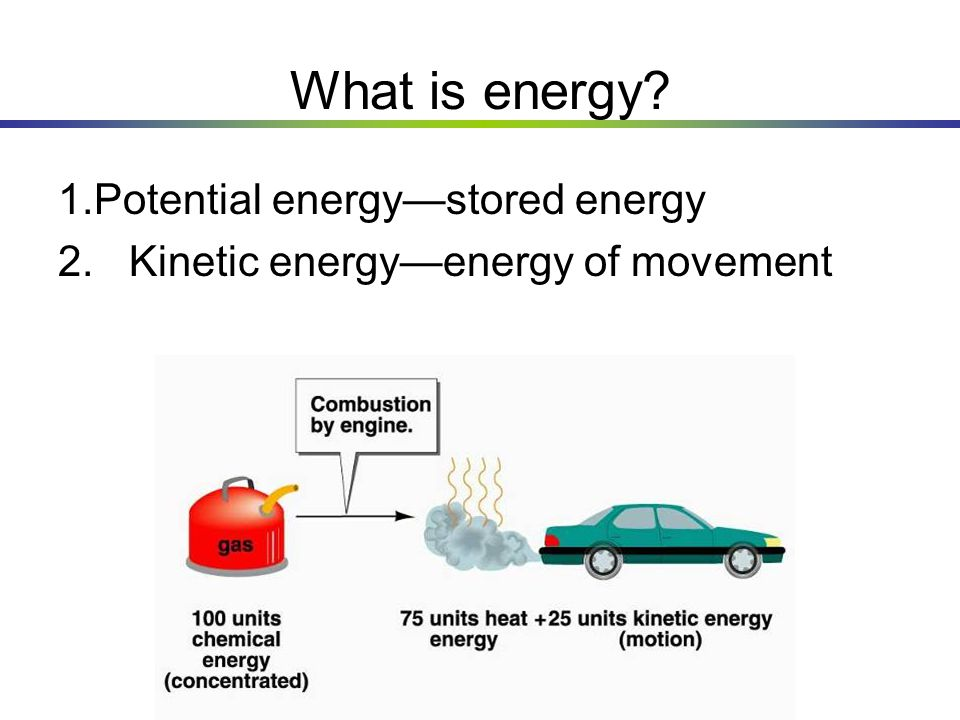 What is energy Potential energy—stored energy