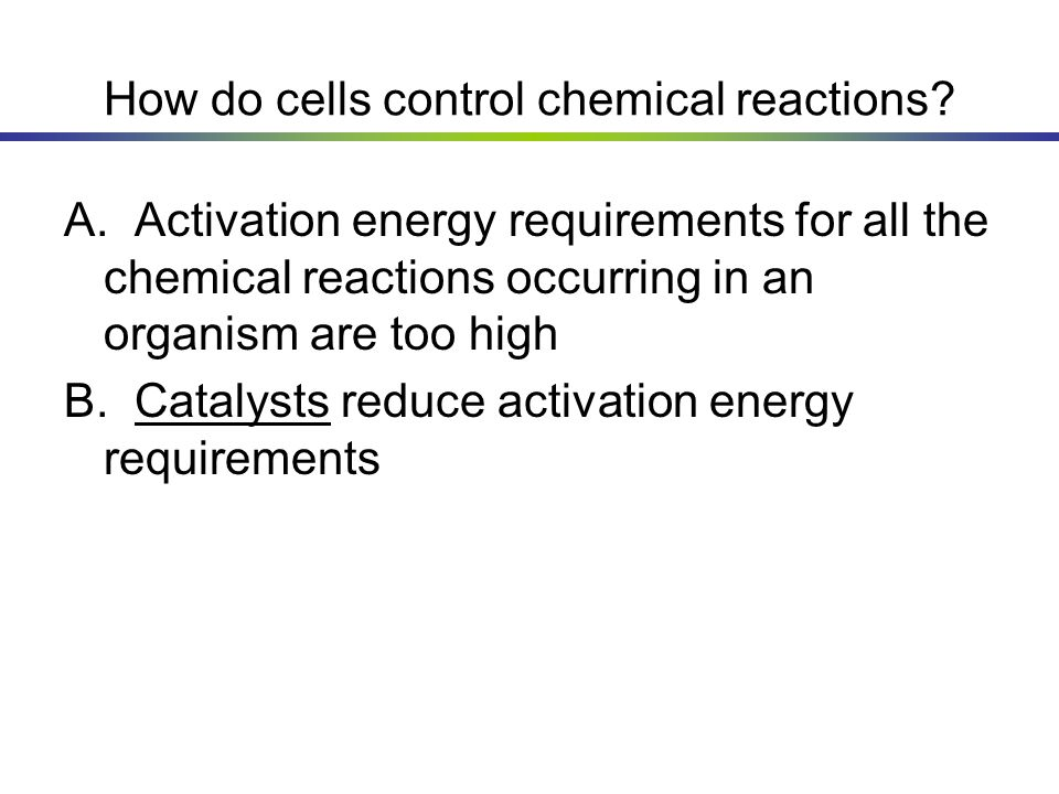 How do cells control chemical reactions