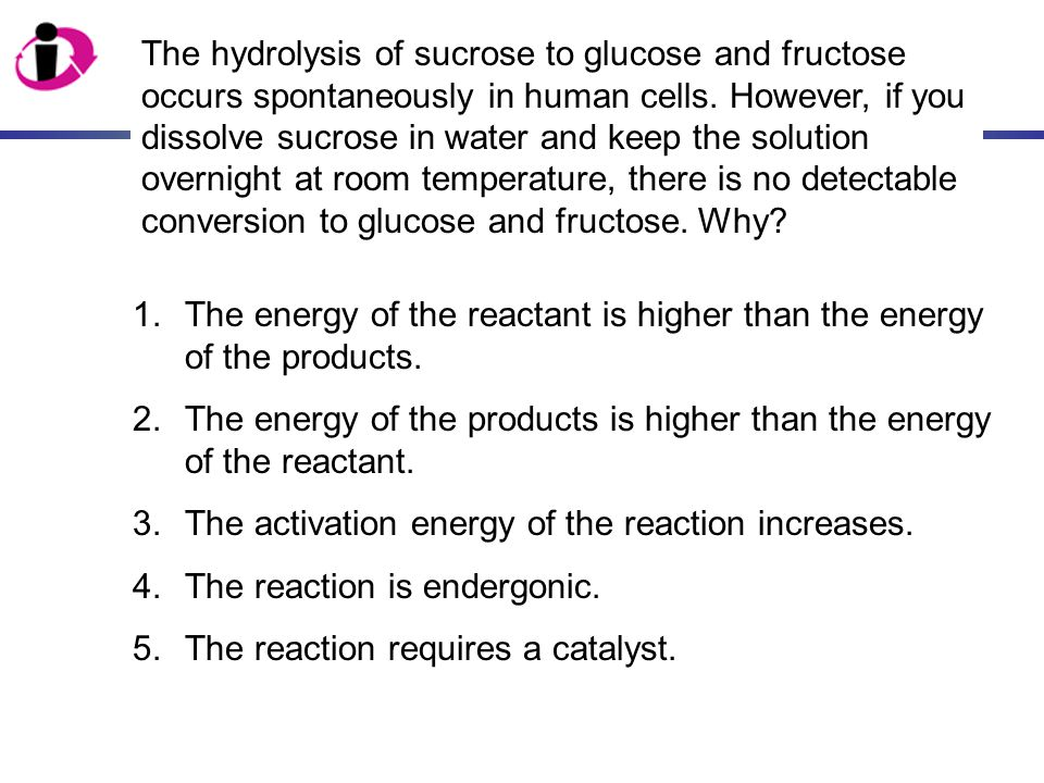 The hydrolysis of sucrose to glucose and fructose occurs spontaneously in human cells. However, if you dissolve sucrose in water and keep the solution overnight at room temperature, there is no detectable conversion to glucose and fructose. Why