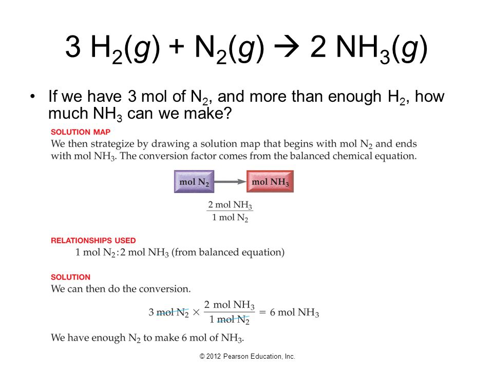3 H2(g) + N2(g)  2 NH3(g) If we have 3 mol of N2, and more than enough H2, how much NH3 can we make