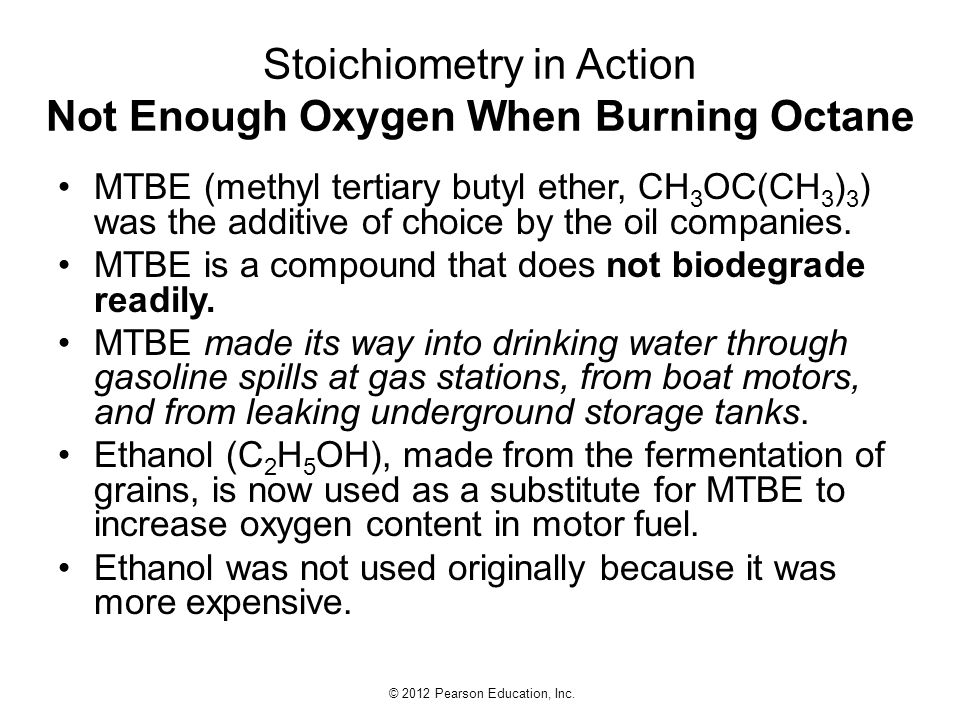 Stoichiometry in Action Not Enough Oxygen When Burning Octane