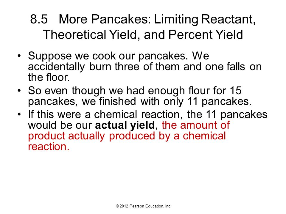 8.5 More Pancakes: Limiting Reactant, Theoretical Yield, and Percent Yield