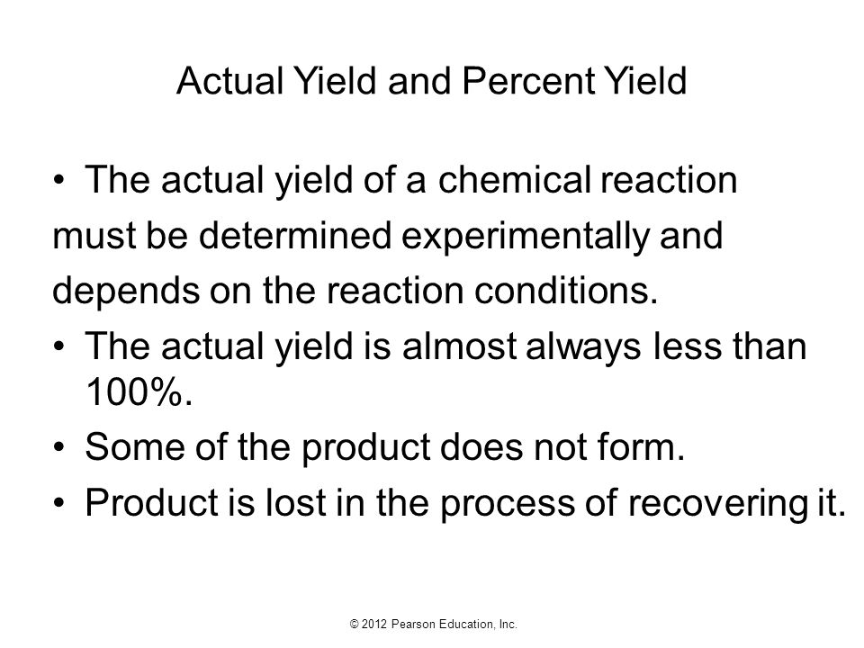 Actual Yield and Percent Yield