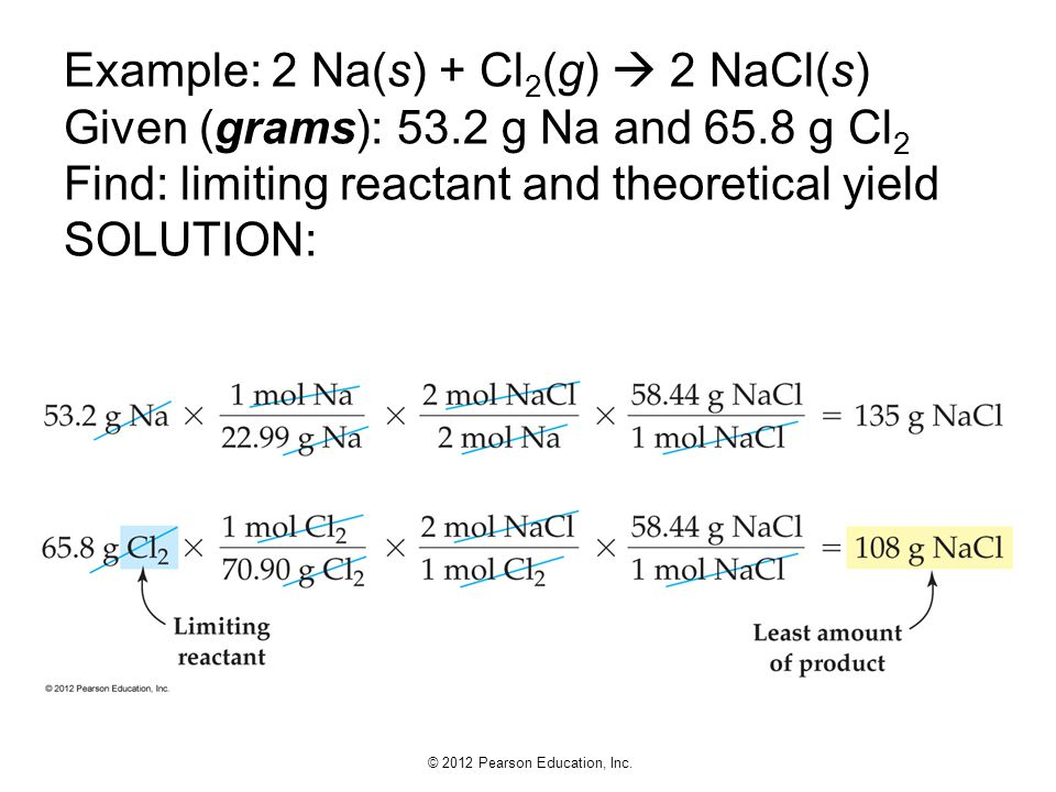Example: 2 Na(s) + Cl2(g)  2 NaCl(s) Given (grams): 53. 2 g Na and 65
