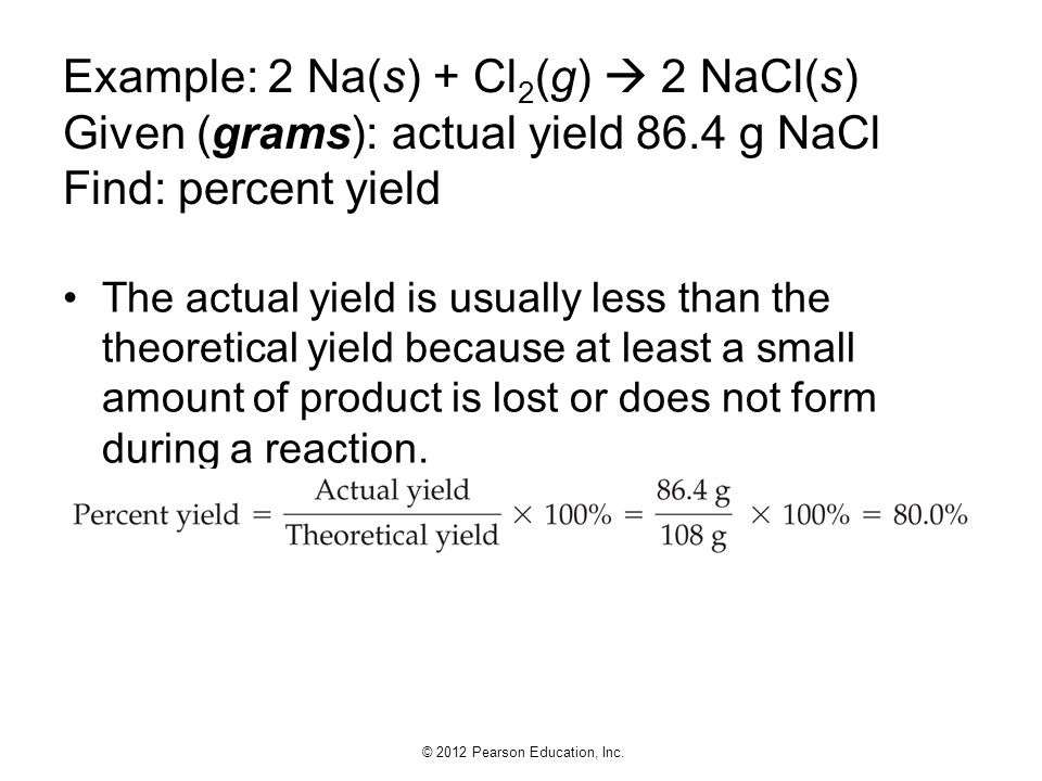 Example: 2 Na(s) + Cl2(g)  2 NaCl(s) Given (grams): actual yield 86
